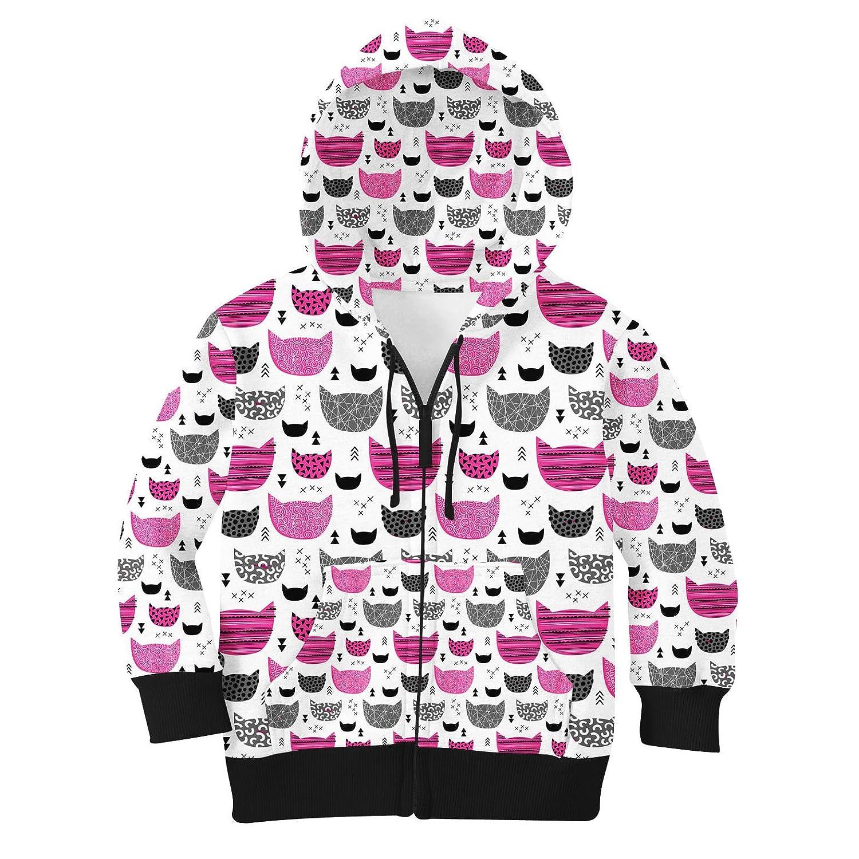 Hot Pink 10 Inky Texture Cats Kids Zip Up Hoodie Unisex