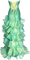 Beaded Organza High-Low Ruffle Prom Pageant Dance Dress, Medium, Lime