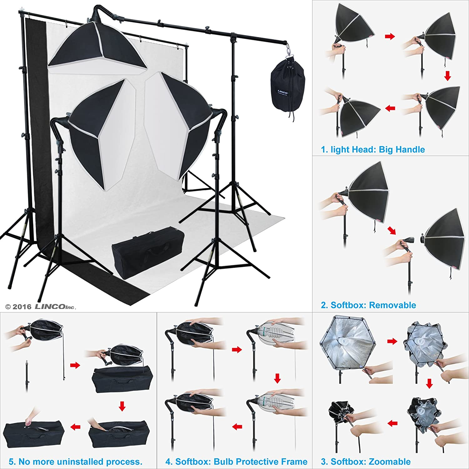 LINCO Lincostore Morning Glory Softbox Studio Lighting Kit AM149 Perfect Effect and No Uninstalled Process