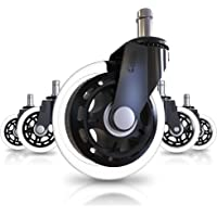 Office Chair Caster Wheels (Set of 5) - Heavy Duty & Safe for All Floors Including Hardwood - Perfect Replacement for…