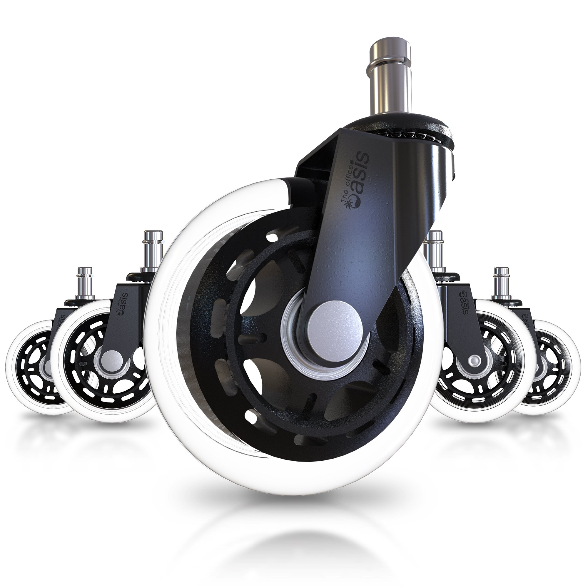 Office Chair Caster Wheels (Set of 5) - Heavy Duty & Safe for All Floors Including Hardwood - Perfect Replacement for Desk Floor Mat - Rollerblade Style w/Universal Fit by The Office Oasis