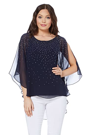 a9c1f9722e6c6 Roman Originals Women Sparkly Chiffon Overlay Top - Ladies Round Neck 3 4  Length Sleeves Shiny Going Out Party Sparkling Evening Tops - Navy - Size 10   ...