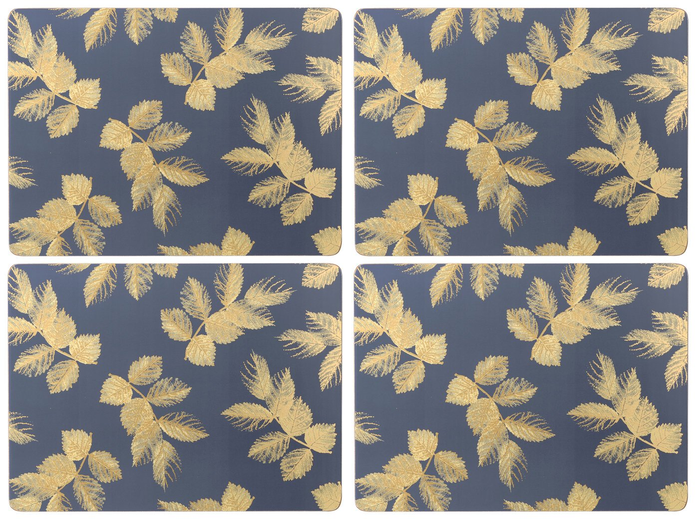 Sara Miller for Portmeirion Etched Leaves Leaves Leaves Tischunterlage 4 Stück - Navy (s) B0719SCPWH Platzsets 05a538