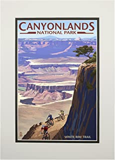product image for Canyonlands National Park, Utah - Conflunce and Bikers (11x14 Double-Matted Art Print, Wall Decor Ready to Frame)