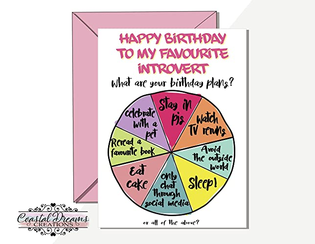 Introvert Funny Happy Birthday Card My Favourite Best Friend Plans Pie Chart Husband Boyfriend Girlfriend