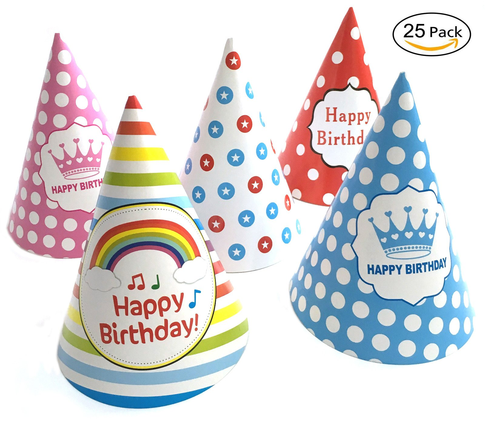 25 pcs Birthday Party Hat(Includes 5 Different Patterns)