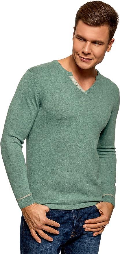 TALLA XL. oodji Ultra Hombre Jersey con Escote en V y Detalles en Contraste