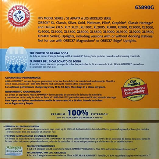 Amazon.com: ARM & Hammer ORECK XL & CC Vacuum Bags (3 Bags): Health & Personal Care