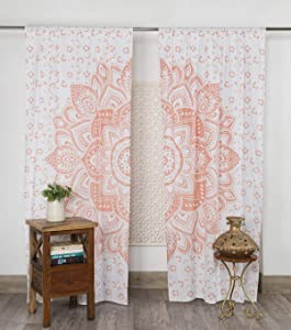 "Madhu International Window Curtains Drape Balcony Room Decor Mandala Curtain Set (82"" X 41"" Curtain, Rose Gold)"