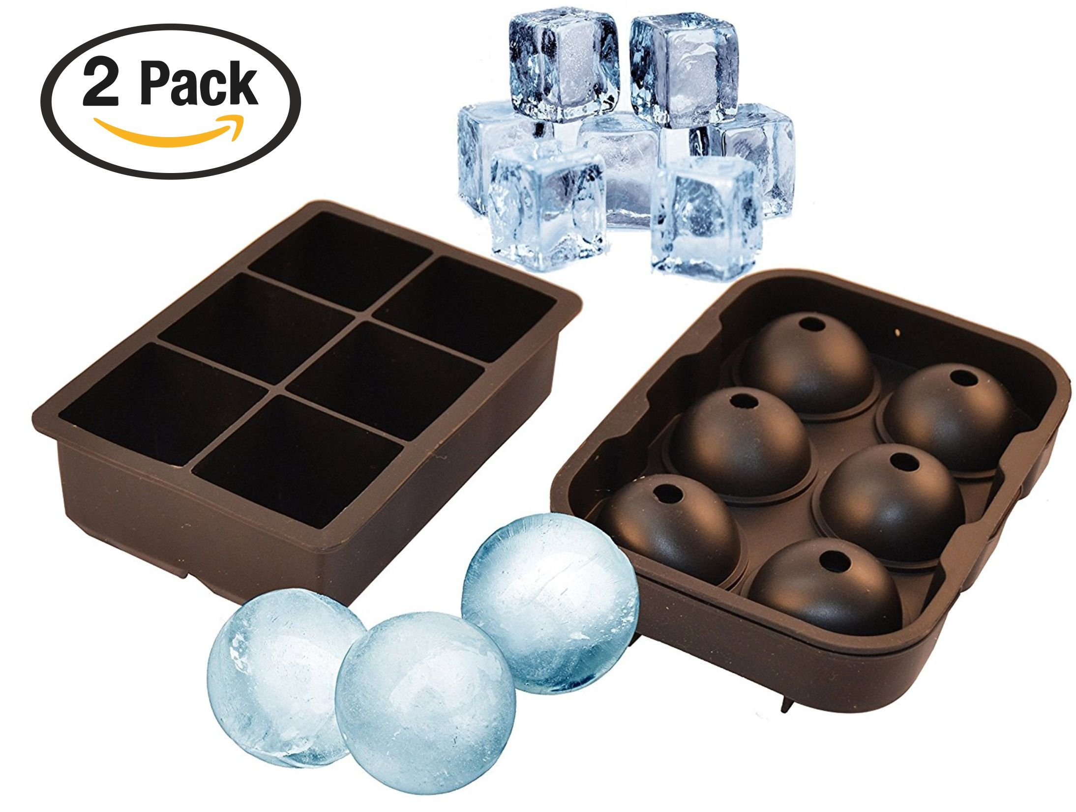 UnicGlam Large Ice Cube Trays (Set of 2) Combo Silicone Square Mold and Sphere Ice Ball Maker