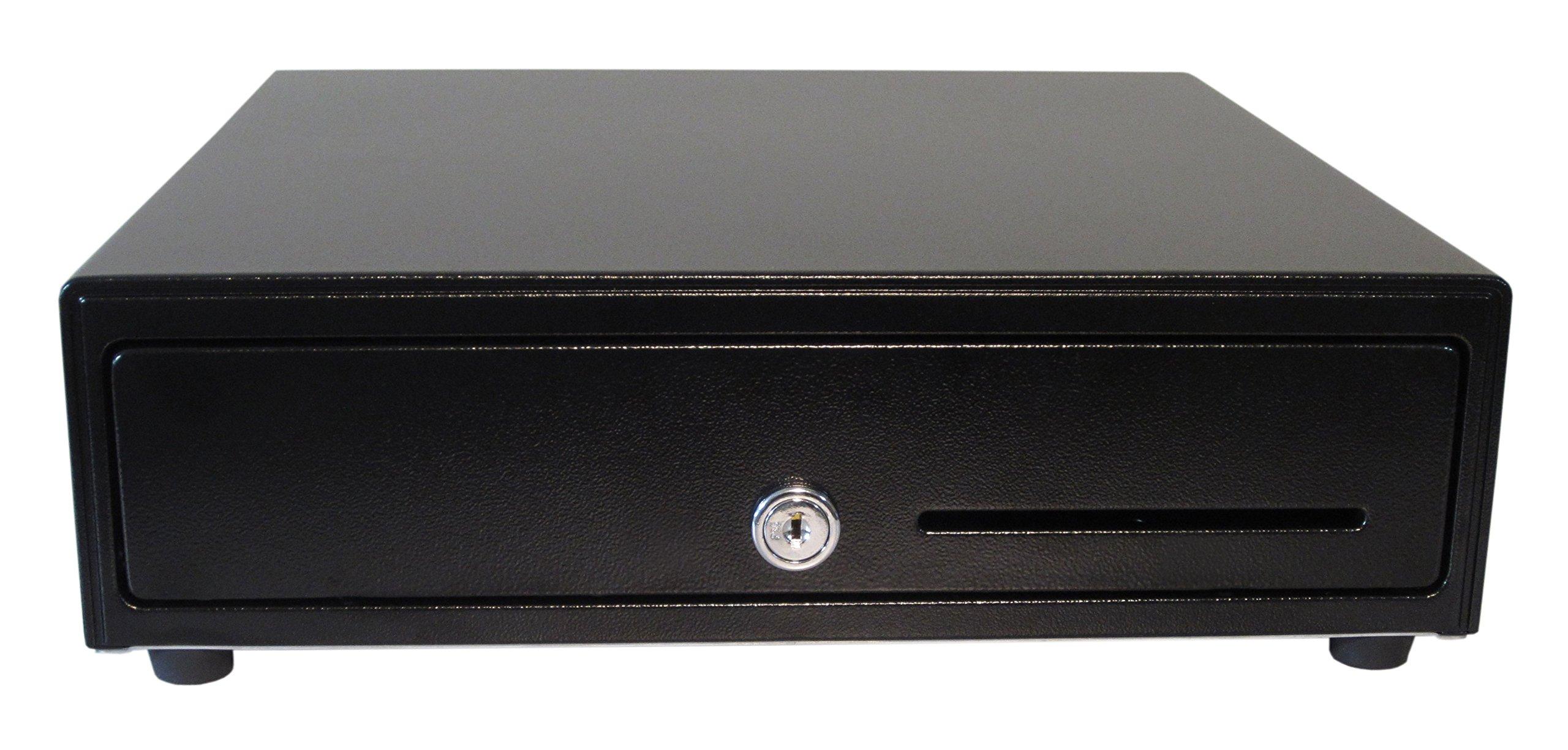 APG VB320-BL1313-B27 Vasario Series Standard-Duty Printer Cash Drawer with MultiPRO 320 Interface, 24V, 13.1'' x 13.1'' x 3.93'', Black