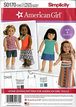 Amazon.com: Simplicity American Girl Sewing Pattern SO170 One Size ...