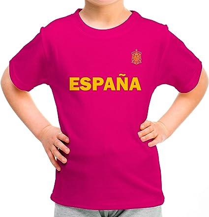 Lolapix Camiseta España Rosa Personalizada con Nombre y número ...
