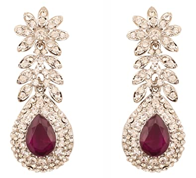 addf90bb2 Touchstone Indian Bollywood Rhinestone/faux purple amethyst bridal designer  jewelry earrings for women in silver tone: Amazon.co.uk: Jewellery