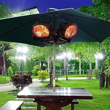 Outsunny Calefactor Infrarrojo Calentador Eléctrico de Exterior Patio Montado en Sombrilla Poste 2000W 4 Cabezas Φ55.5x13cm Acero y Aluminio: Amazon.es: Jardín