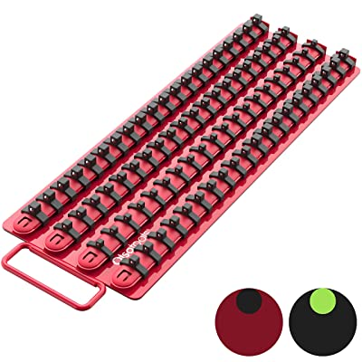 Olsa Tools Portable Socket Organizer Tray | Red Rails Black Clips | Holds 80 Sockets | Premium Quality Socket Holder: Automotive