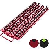 Olsa Tools Portable Socket Organizer Tray | Red Rails Black Clips | Holds 80 Sockets | Premium Quality Socket Holder