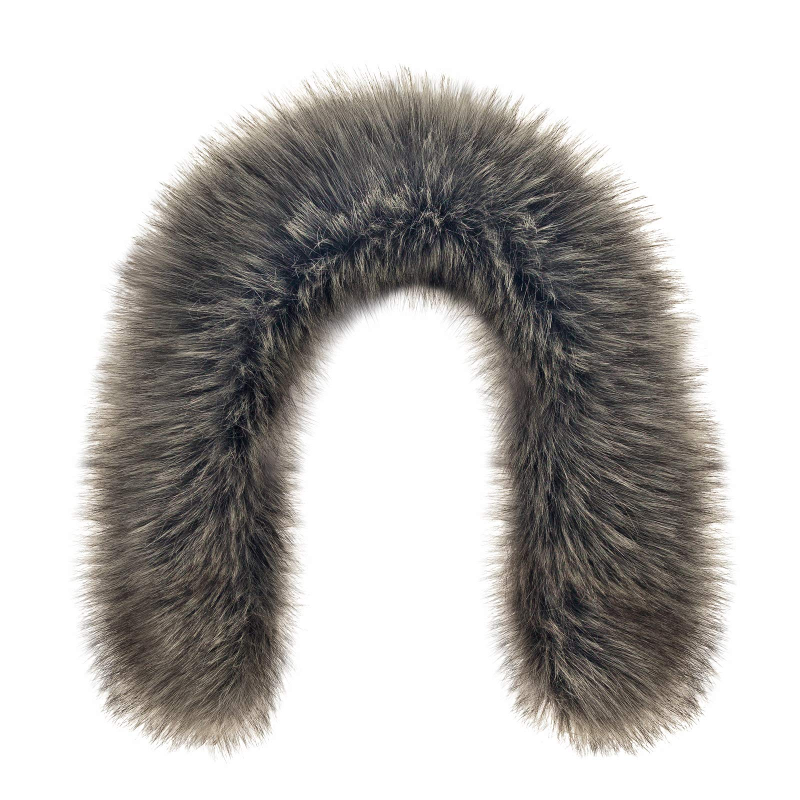 Futrzane Trim Hood Faux Fake Fur Hood Winter for Jacket Ski Collar Wrap Shawl (XS, Steel)