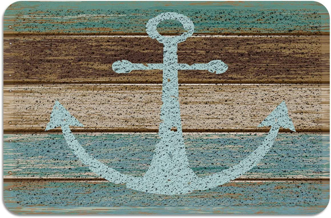Blue Nautical Anchor Rustic Old Barn Wood Doormats Non-Slip Indoor Outdoor Front Door Mat PVC, 24 x 36 Inch