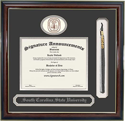 Signature Announcements South-Carolina-State-University Undergraduate Sculpted Foil Seal /& Name Graduation Diploma Frame 20 x 20 Gold Accent Gloss Mahogany