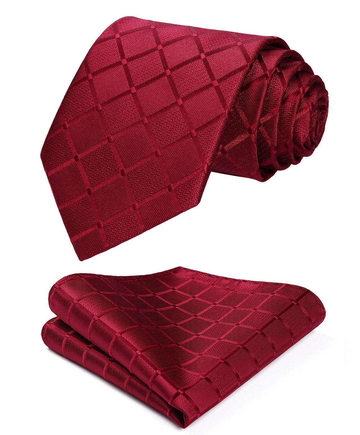 HISDERN Plaid Red Tie Handkerchief Woven Classic Stripe Men's Necktie & Pocket Square Set