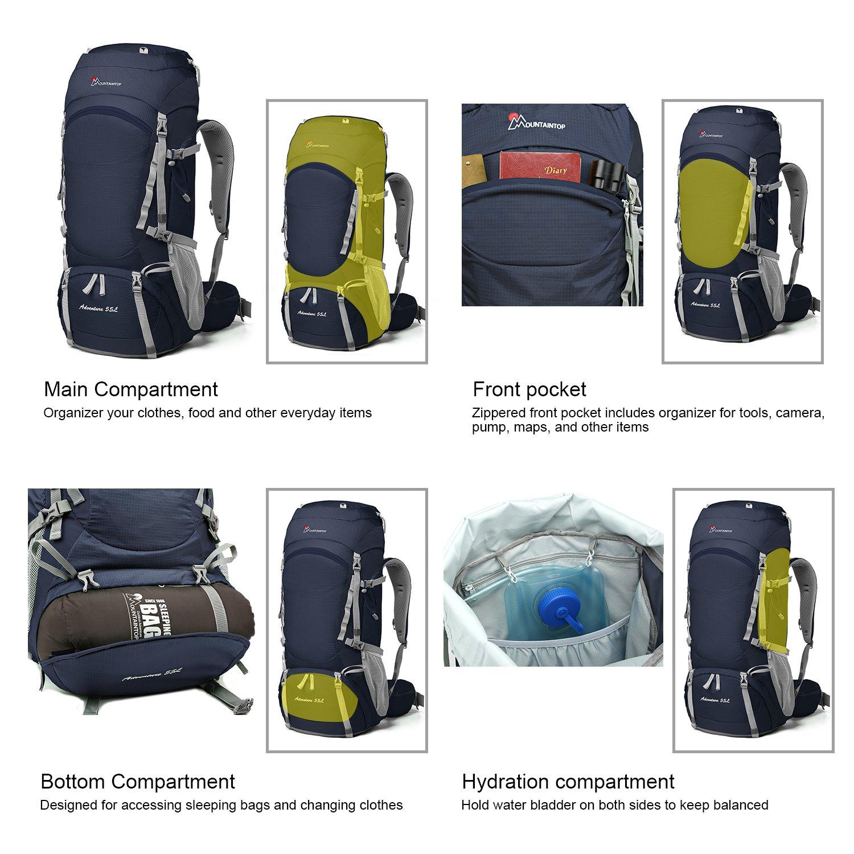 ca65780398 Mountaintop 50/55/60L Zaino Trekking Impermeabile Escursionismo montagna  campeggio alpinismo viaggio 58066012DS ingrandisci