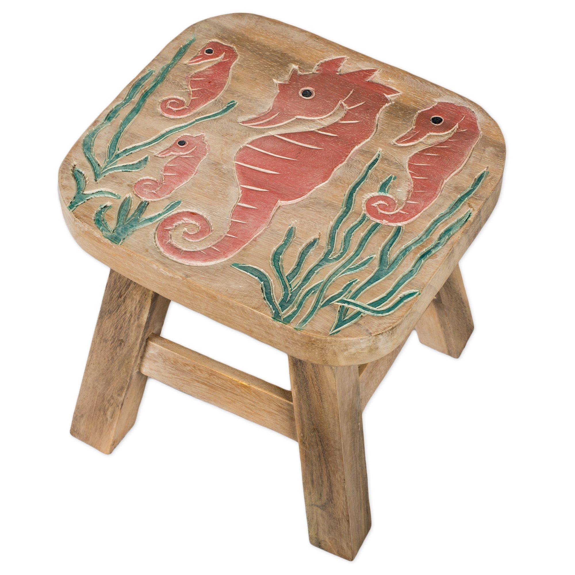 Seahorse Design Hand Carved Acacia Hardwood Decorative Short Stool