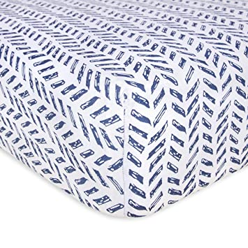 BlueSnail Super Soft Stretchy Fitted Flannel Crib Bed Sheet for Standard Crib and Toddler Mattress blue
