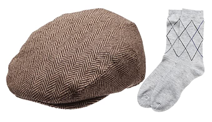 4c5a56c997f Men s Collection Wool Blend Herringbone Tweed Newsboy Ivy Hat with Dress  Socks.(2032