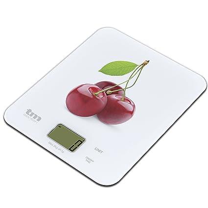 Tm Electron TMPBS022 Báscula Digital de Cocina Ultra Delgada con diseño de Cerezas, Pantalla LCD