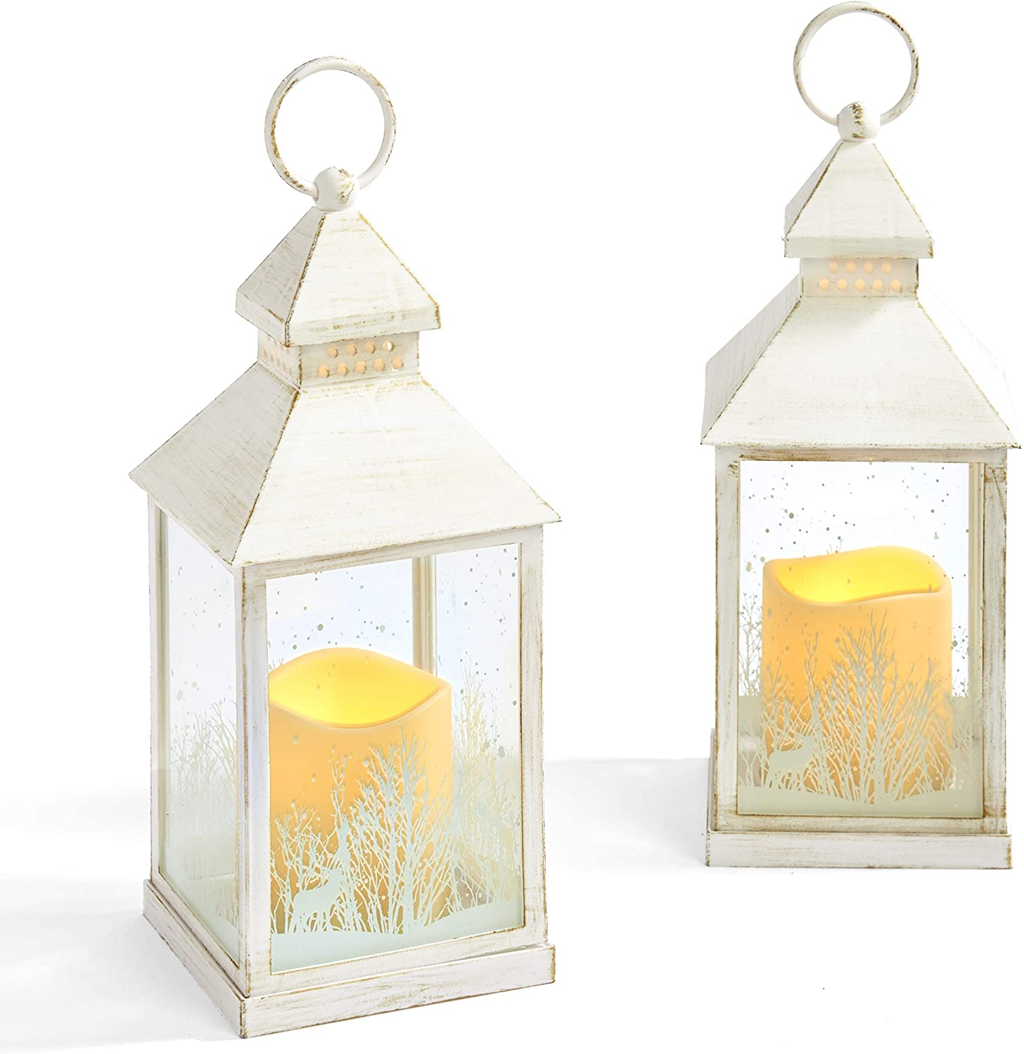 Winter Candle Lantern Set - 9 Inch Decorative Lanterns with LED Flameless Candles, White Distressed Finish, Battery Operated, Timer Setting, Farmhouse Holiday Decoration- Set of 2
