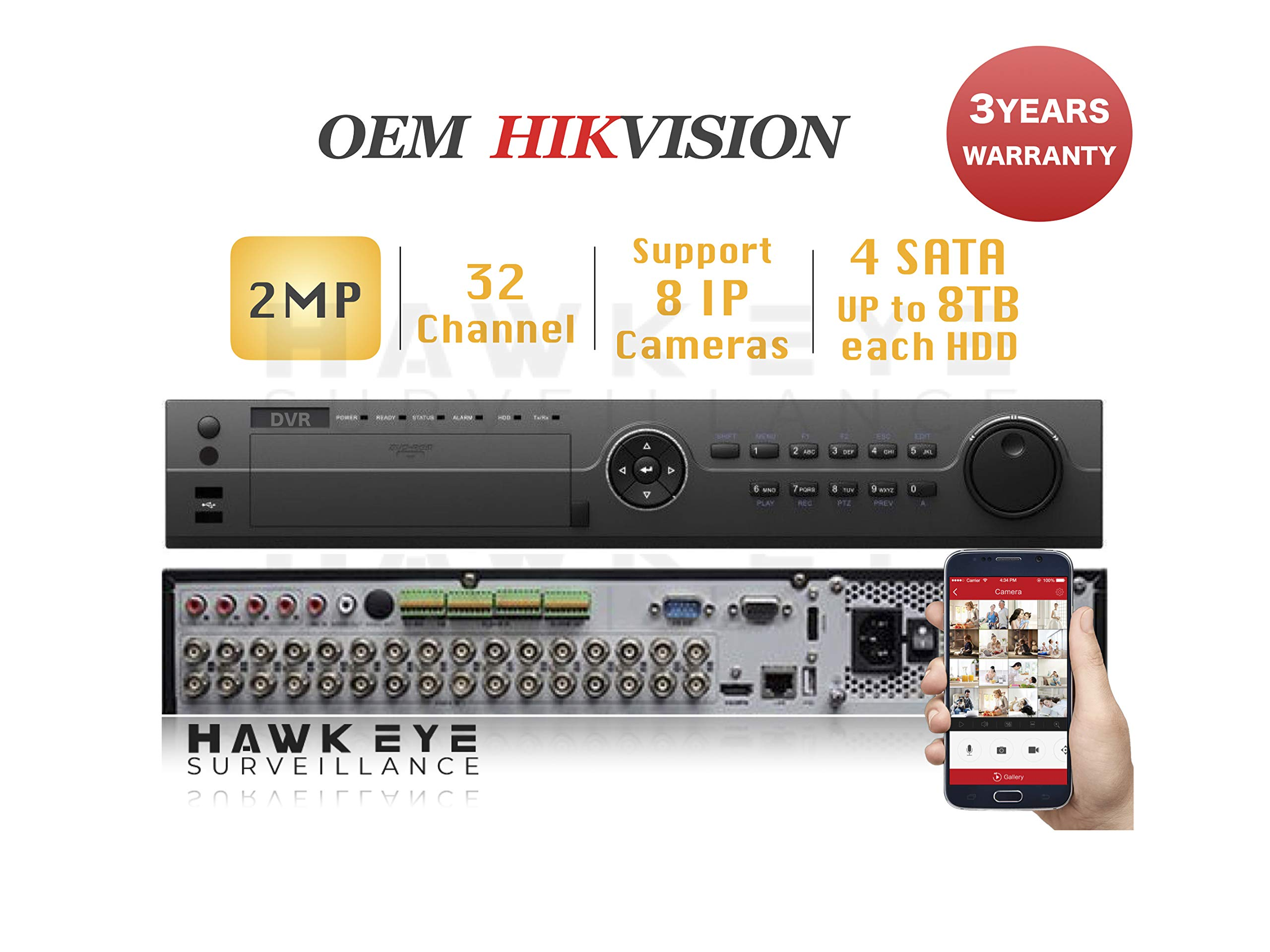 32CH HD TVI 1080P DVR - Surveillance Digital Video Recorder 32CH HD-TVI/CVI/AHD H264 Full-HD HDMI/VGA/BNC Video Output for Home & Business Analog& IP Camera Support Mobile App 3year Warranty