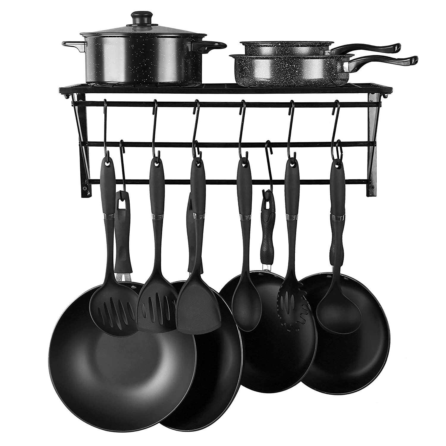 Kitchen Wall Mounted Pot Rack,Pan Lid Shelf,Cookware Storage with 10 Hooks,Black … Black …