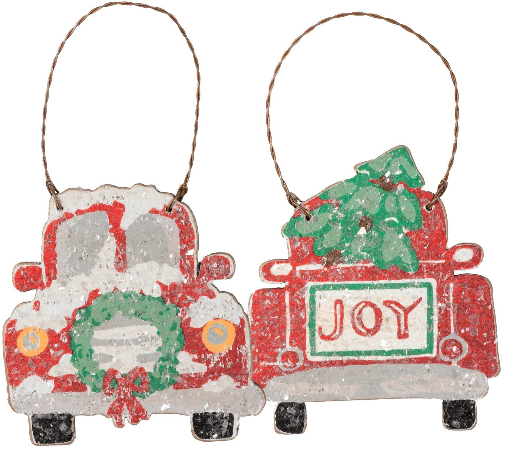 Primitives by Kathy Hand Lettered Trucks Wood Christmas Ornaments (Set of 2)