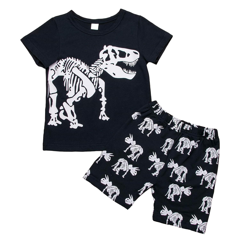 Jimmackey Neonato Manica Corta T-Shirt Elefante Cartoon Stampa Camicia Cime Pantaloni Bambino Completo