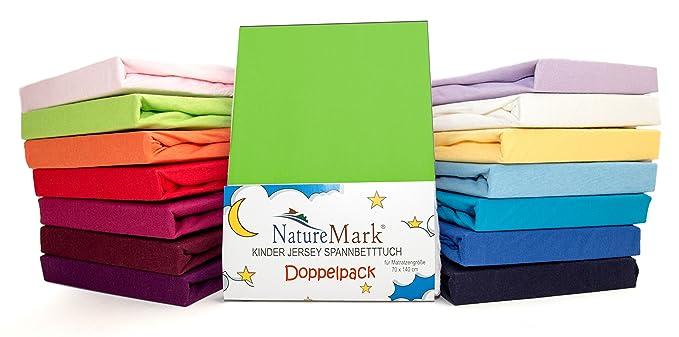 2 Pack de ahorro Niños - Sábana bajera ajustable 100% algodón para cama infantil colchones Certificado Oeko-Tex, en muchos colores, tela, ...
