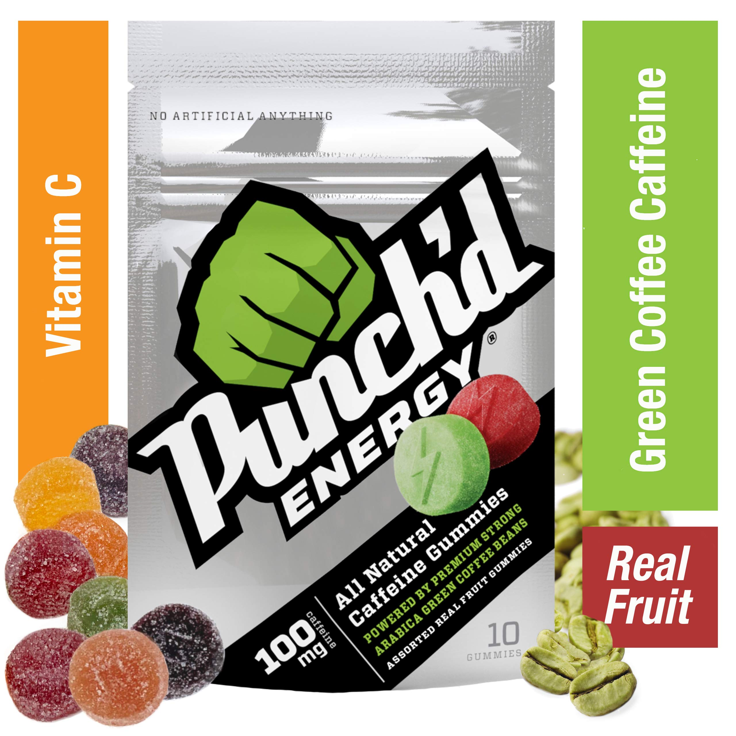 10-Pack Punch'd Energy Natural Caffeine Gummies (100 Count) Real Fruit Energy Chews Powered by Premium Strong Arabica Green Coffee Beans, Vitamin C, Low Glycemic, Clean Caffeine #getpunchd Go You! by Punch'd