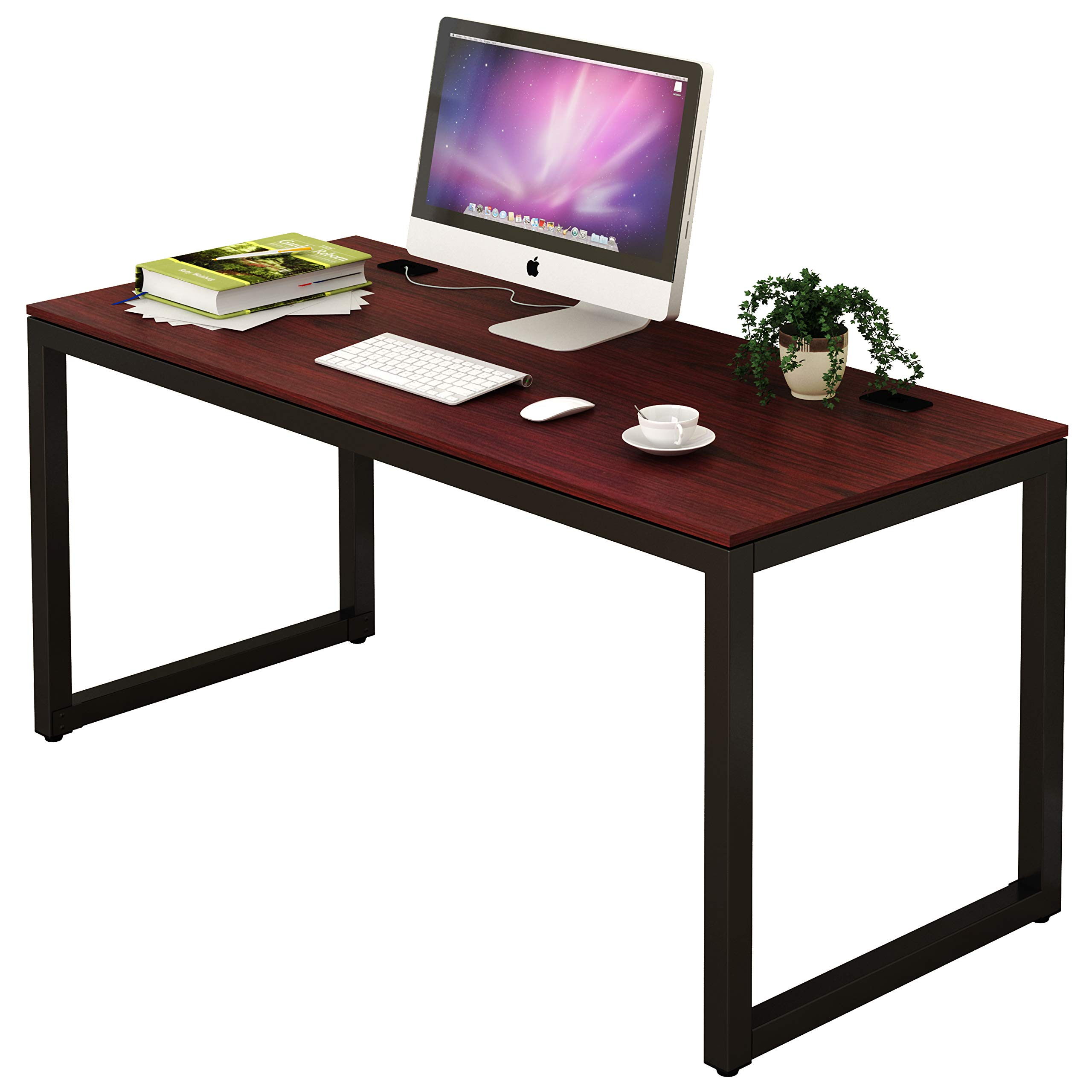 SHW Home Office 55-Inch Large Computer Desk, Cherry by SHW (Image #2)