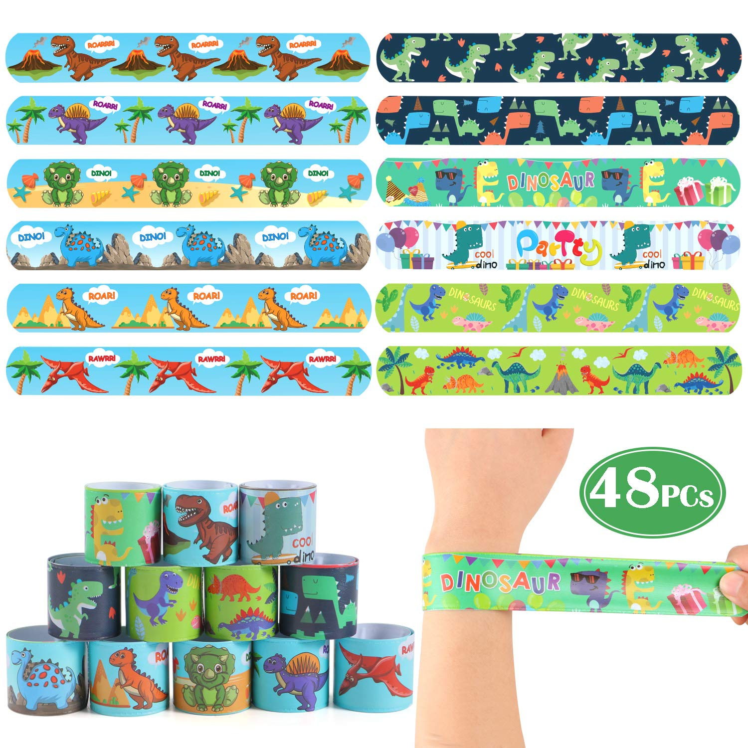 Lorfancy 48 Pcs Dinosaur Slap Bracelets with Animal Design Kids Bracelets Snap Bands Class Prize for Adults Boys Kids Dino Dinosaur Toys Dinosaur Party Favors Supplies by Lorfancy