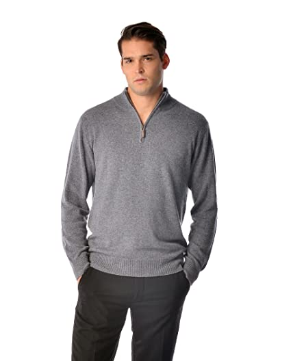 Mens Pure Cashmere Half Zip Sweater At Amazon Mens Clothing Store