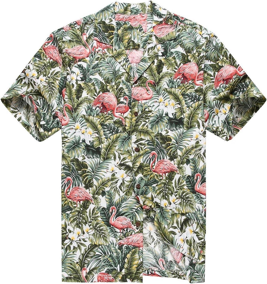 Hecho en Hawaii Camisa Hawaiana de los Hombres Camisa Hawaiana Flamenco en Selva de la Selva Tropical Blanco