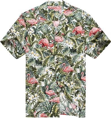 Hecho en Hawaii Camisa Hawaiana de los Hombres Camisa Hawaiana Flamenco en Selva de la Selva Tropical Blanco: Amazon.es: Ropa y accesorios
