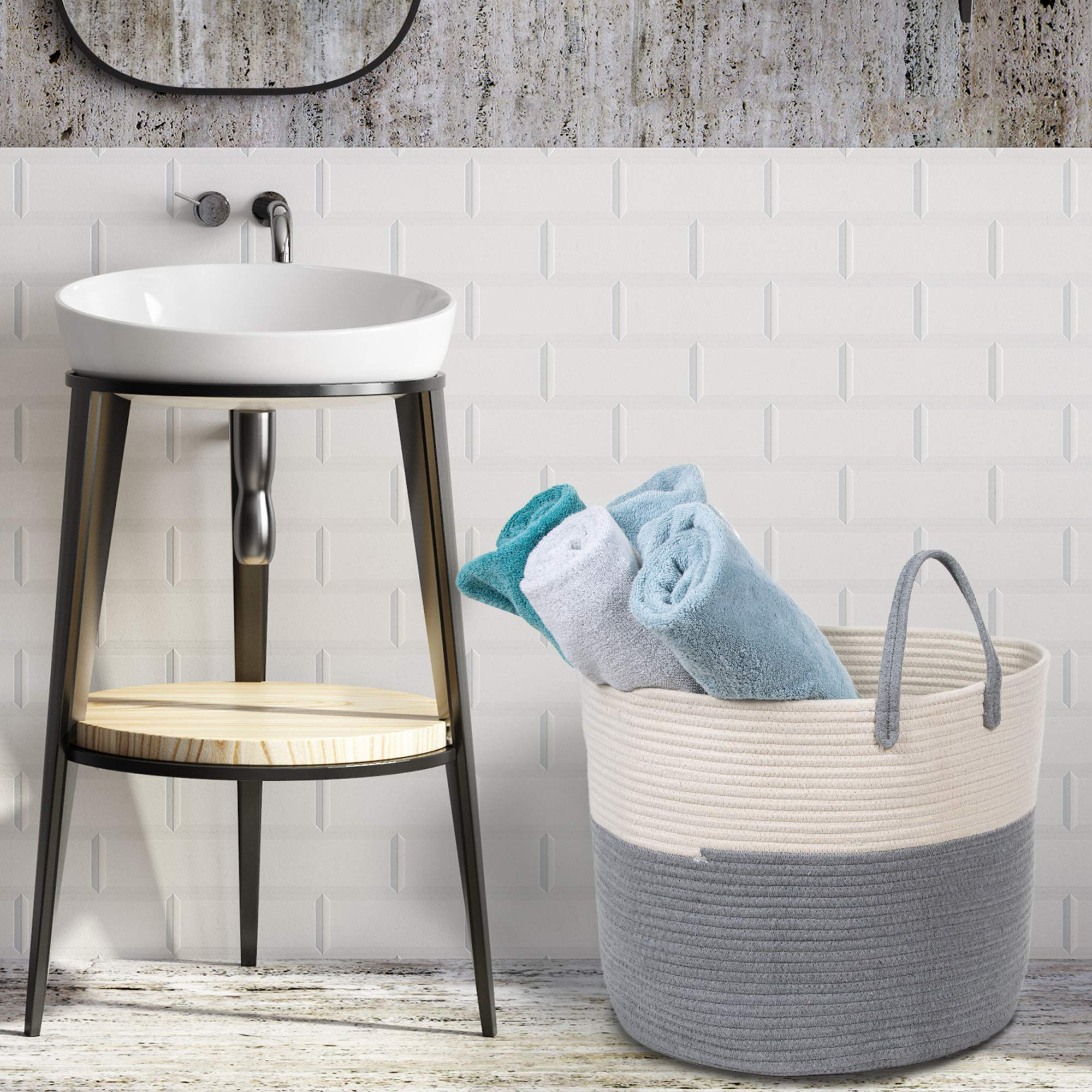 Extra Large Cotton Rope Basket 17 x 14.7 with Handles, for Baby Laundry Basket Woven Blanket Basket Nursery Bin by YOONLIVING (Image #4)