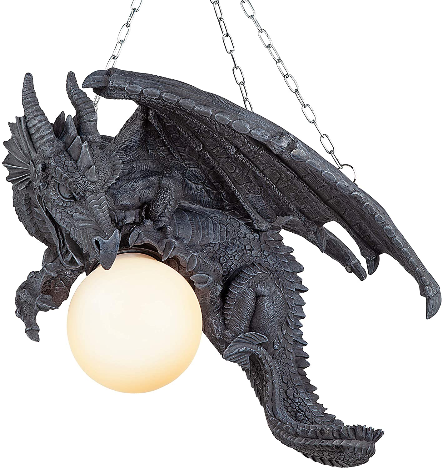Design Toscano Nights Fury Dragon Gothic Decor Hanging Light Fixture, 21 Inch, Greystone,CL1868