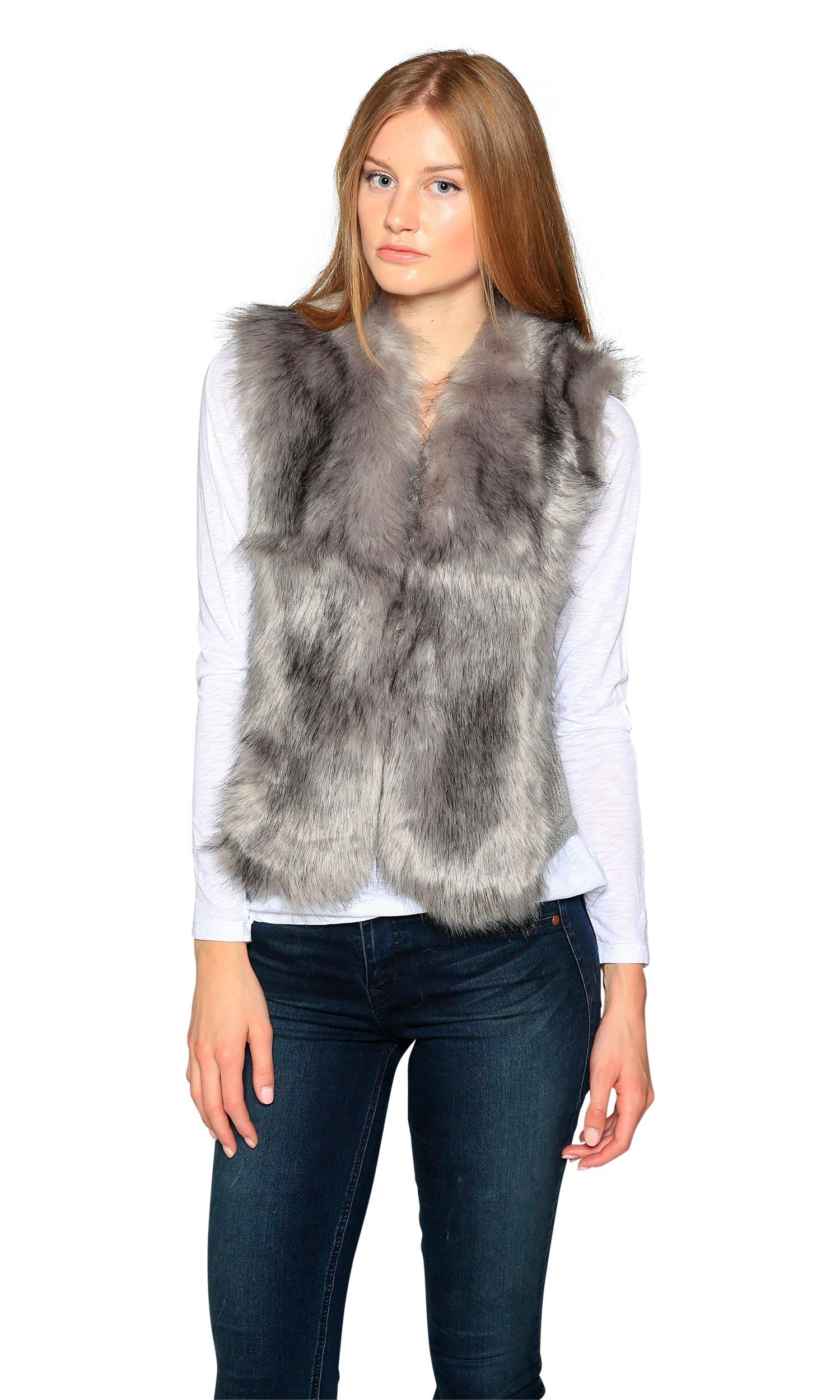 Love Token Alexandra Faux Fur Front Vest, Grey, M