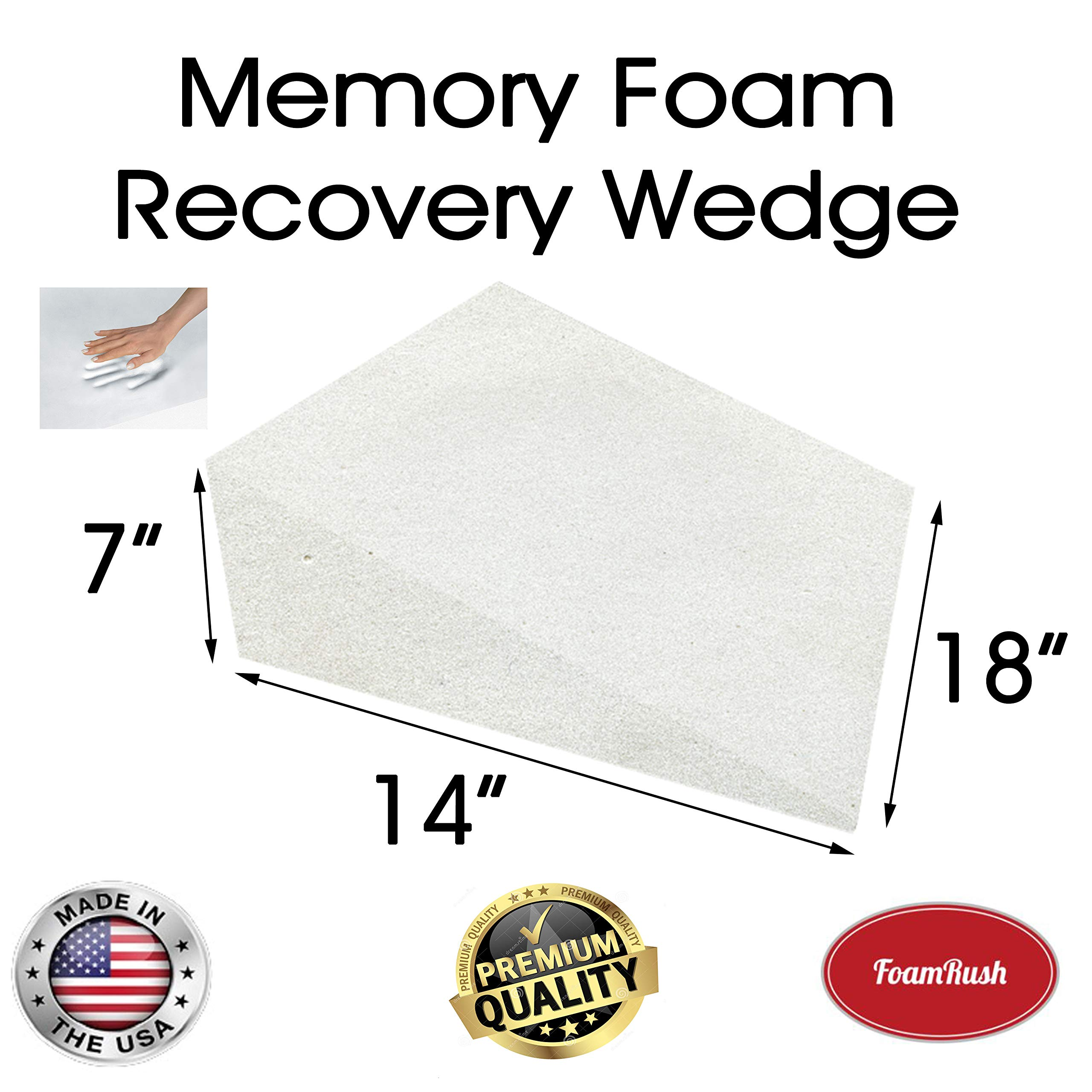 FoamRush 7'' H x 14'' L x 18'' W Premium Quality Therapeautic Memory Foam Bed Wedge Cushion Replacement Best for Sleeping, Reading, Rest or Elevation (Relives Acid Reflux, Snoring & Back Pain) by FoamRush