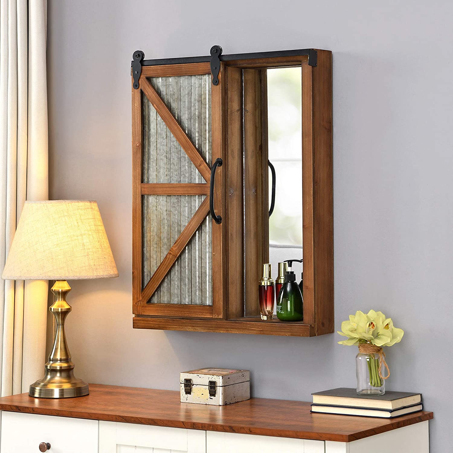 FirsTime & Co. Brown Winona Farmhouse Barn Door Cabinet Mirror, American Designed, Brown, 21 x 5.5 x 28 inches 21 inches