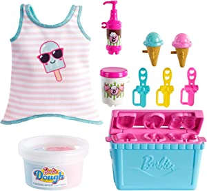 Barbie Cooking & Baking Accessory Pack with Ice Cream-Themed Pieces, Including Tank Top for Doll, Cooler Mold & Container of Molded Dough, Ages 4 Years Old & Up, Multi