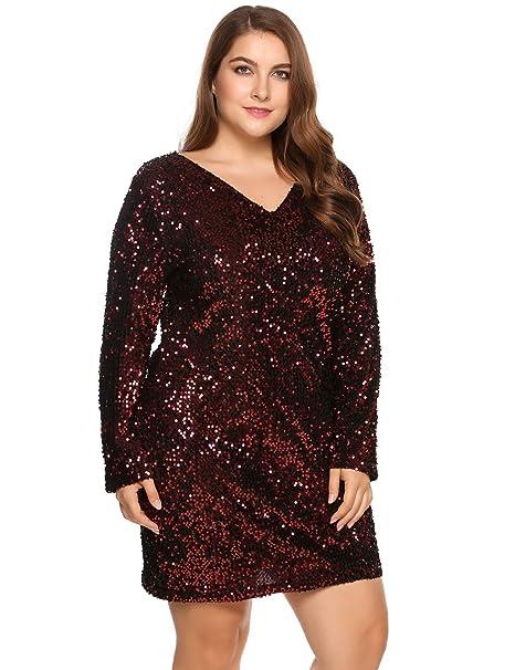 01b1fbf4 Este vestido de noche está elaborado con poliéster y lentejuelas. Es un  modelo elástico con mangas largas y de falda por encima de la rodilla; ...