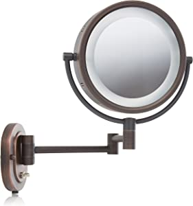 Jerdon HL65BZ 8-Inch Lighted Wall Mount Makeup Mirror with 5x Magnification, Bronze Finish